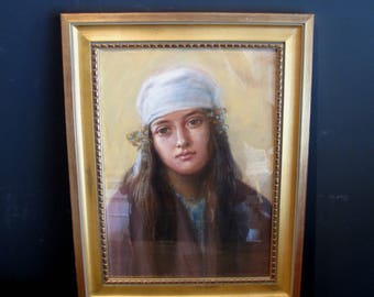 Early 20th Century Pastel Portrait of Young Gypsy Girl - Antique Drawing Framed