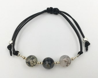 Bracelet in silver and dragon agate