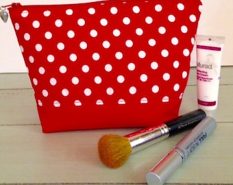 Makeup Bag , Cosmetic Bag, Gift for Her, Makeup Organizer, Red Cosmetic Pouch, Makeup Case, Cosmetic Organizer,  Large Makeup Bag