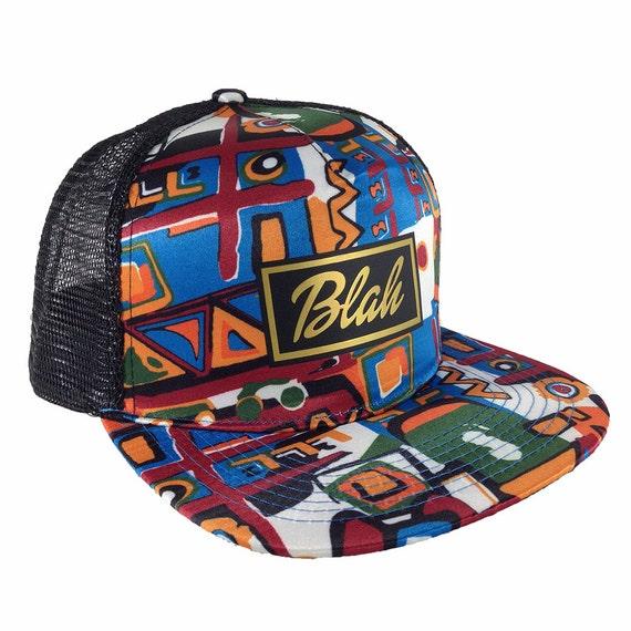 Aztec Style, Blah Box Gold, Trucker Hat, Adjustable Hat, Flat Bill Trucker, Blah Box Logo, Cartoon Style Cap, Aztec Style gift, Aztec Gift