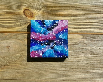 Small Original galaxy nebula star stars acrylic art arts painting wall hanging Desk Decoration decor him her gift cloud outer space