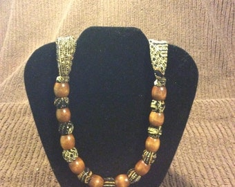 Handmade Earth Tone Fabric and Wooden Bead Necklace