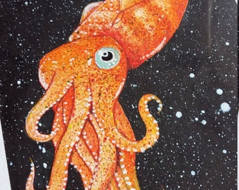 Mad Squid Painting - Cephalopod Artwork - Original Framed Watercolour - Nautical Art