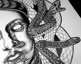 A3 THE PROTECTRESS - Art Print - Medusa Design Greek Mythology Illustration - Dotwork Linework - Dark Art - Tattoo - Blackwork