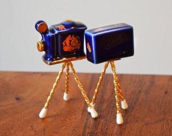 Limoges Cobalt Miniature Antique Tripod Cameras, Vintage 22K Gold and Blue Porcelain on Brass legs, Dollhouse Furniture and Acessories