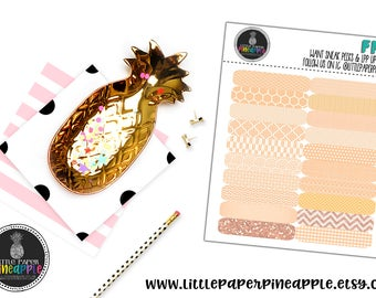 ORANGE Patterned Quarter Box Planner Stickers   Repositionable Matte Stickers   FN7