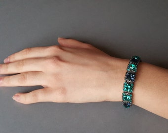 Emerald Beaded Bracelets, Party Bracelets, Fancy Bracelets, Gift for Women