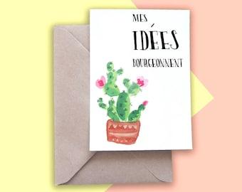 Postcard - illustration Watercolour - my ideas bloom - cactus