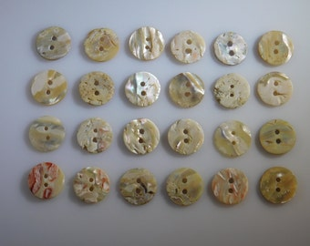 Abalone Buttons 20mm, Parcel of 24 Mother of Pearl 2 Hole Collectible Antiques for High Quality Jewelry Crafts, Clothing, Artisans, Sewing