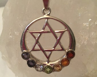 Star of David Sterling Silver Chakra Stones