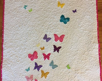 Butterfly baby quilt, baby blanket, butterfly wall hanging