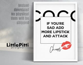 Lipstick print, makeup quote, lipstick wall art, chanel quote, chanel lipstick, chanel room decor, lipstick art, coco chanel lipstick, coco
