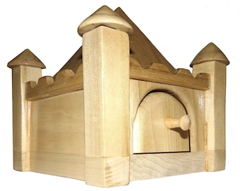 Wooden Castle Coin Bank, Wooden Palace, Palace Bank, Castle Bank, Wooden Bank