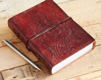 Lovely hand made leather journal, with large Ganesh on front cover