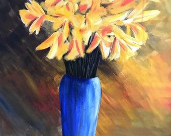 Yellow Flowers in Cobalt Blue Vase