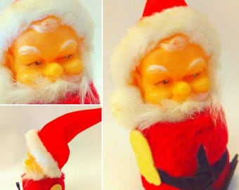 VINTAGE, squeaker Santa, vintage Christmas, 1960s, Santa, figure, kitsch, CHRISTMAS, kitschmas, Christmas kitsch, kitsch Christmas, father