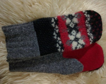 homemade upcycled woool felted sweater mittens.