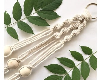 Plant Hanger Ring and 3 Wooden Beads