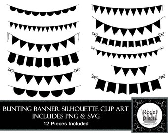 Bunting Banner Silhouette Clip Art Set - 12 Piece - 7 inches - Instant Download - Printable - SVG & PNG #88