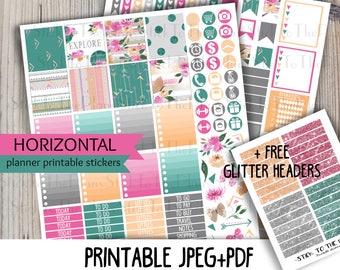 Horizontal floral summer printable planner stickers for your Erin Condren Life Planner TM watercolor tribal aztec flowers weekly sticker kit