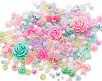 10% OFF SALE Enchanted Garden Cabochon Rhinestone Pearl Set Kit DIY Decoden Kawaii Craft Mix