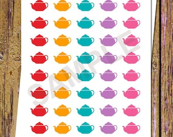 40 Tea Planner Stickers Teapot Stickers Tea Time Teapot Planner Stickers Functional Stickers Icon Stickers Rainbow Colors Cone Stickers A136
