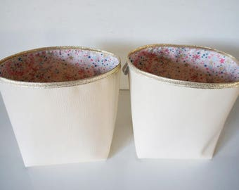 Set of 2 reversible faux leather baskets
