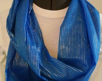 Blue sheer infinity scarf with gold metallic stripe