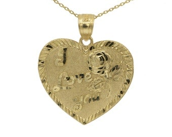 14k Yellow Gold I Love You Heart Necklace