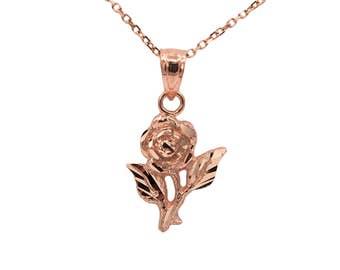 14k Rose Gold Rose Necklace