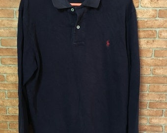 Vintage Polo Ralph Lauren Small Pony Long Sleeve Dark Blue