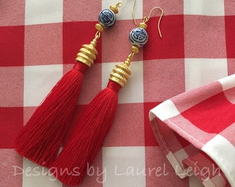 RED Pagoda Tassel Earrings - blue and white, porcelain, chinoiserie, Chinese, Asian, GOLD, silk
