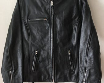 Rocker Vintage Black Soft Genuine Leather Jacket With Laces Men's Size Medium.