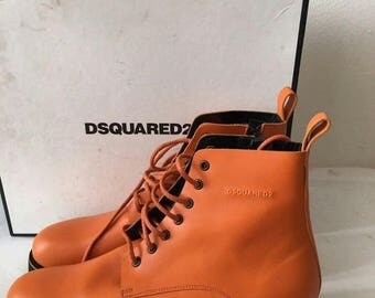 Orange short men's boots, from real leather, classic boots, boots on laces, modern boots, warm shoes, new collection, men's size - 43 EU.