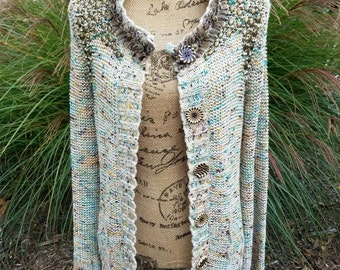 XL Upcycled Sweaters, Steampunk Sweater Upcycled Women's Clothing BOHO Chic Wearable Art Shabby Handmade Embellished