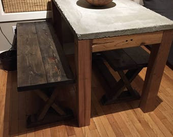Rustic Contrete Table, Exposed Aggregate