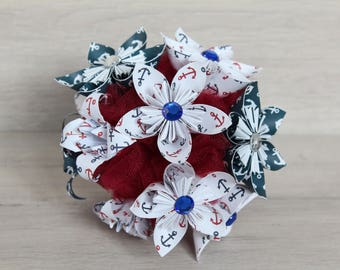 Beautiful origami decoratif paper bouquet kusudama Navy style, white, red and navy blue