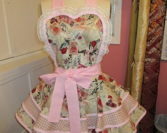 Retro Tiered Pink Apron with Roses
