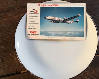 "Eastern Air Lines 7.5"" first class dinner plates and TWA postcard"