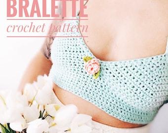 Crochet PATTERN- The Rose Bralette pattern, (XS-S-M/L sizes) crop top pattern- easy pattern, beginner crochet pattern- PDF, crochet pattern