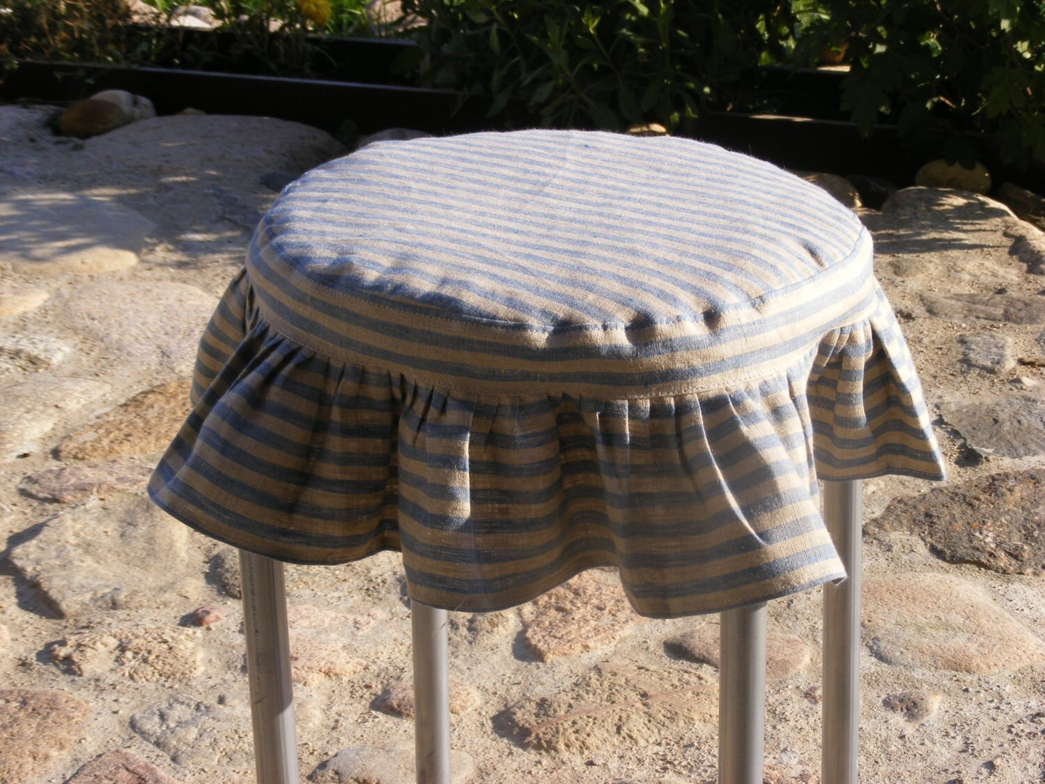 Round Ruffled Stool Seat Covers Linen Chair Cover Bar