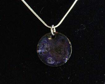 Blue Violet Enameled Pendant (022017-012)