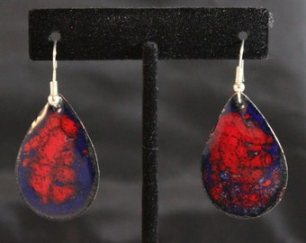 Teardrop Red and Blue Enameled Earrings (022017-028)