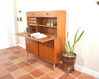 Danish Teak Secretary Drop Down Desk or Bar Cabinet