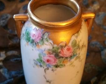 Flowered Nippon like vase, no markings, gold tone rim and handles