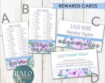 REWARDS Cards - Business card, customer rewards, Purple Flowers