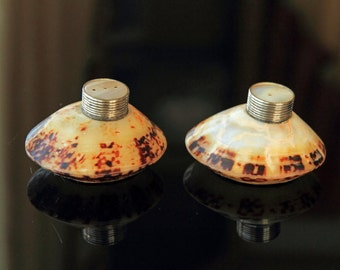 A Pair of Vintage Salt & Pepper Pots made from Shells