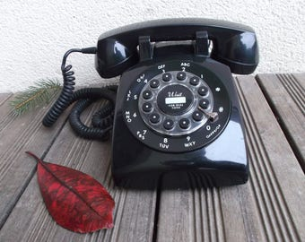 industrial phone vintage phone black - false Rotary with keys