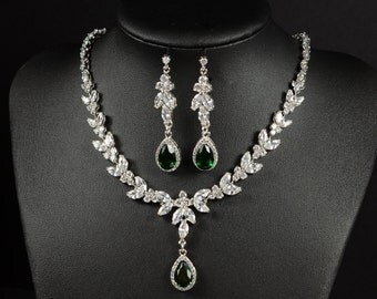 Emerald green Wedding Jewelry Bridesmaid Gift Bridesmaid Jewelry Bridal Jewelry Drop Earrings dangle Earring necklace set ,bridesmaid gift