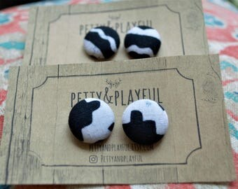 Black and White Fabric Button Earrings - Multiple Sizes - Multiple Black and White Prints
